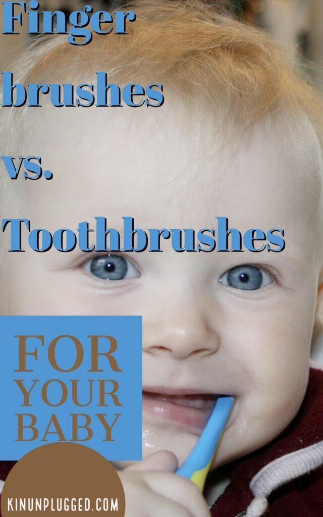 pinterest image for Finger brush vs Toothbrush